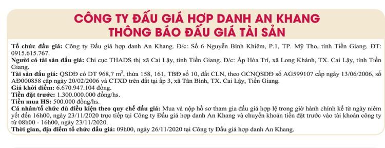 Ngày 26/11/2020, đấu giá quyền sử dụng đất tại thị xã Cai Lậy, tỉnh Tiền Giang ảnh 1