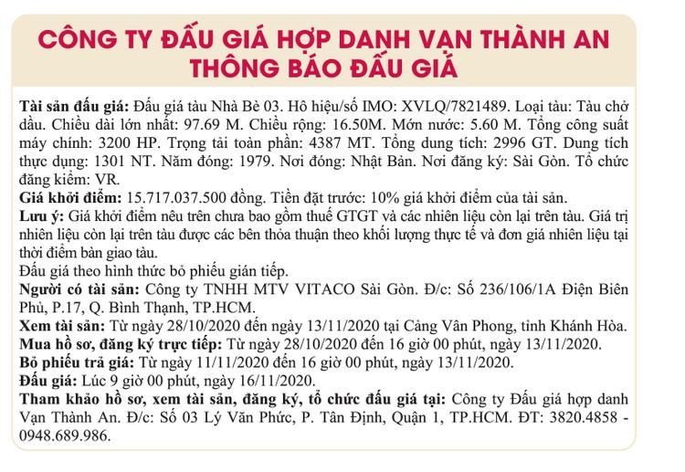 Ngày 16/11/2020, đấu giá tàu Nhà Bè 03 tại TPHCM ảnh 1
