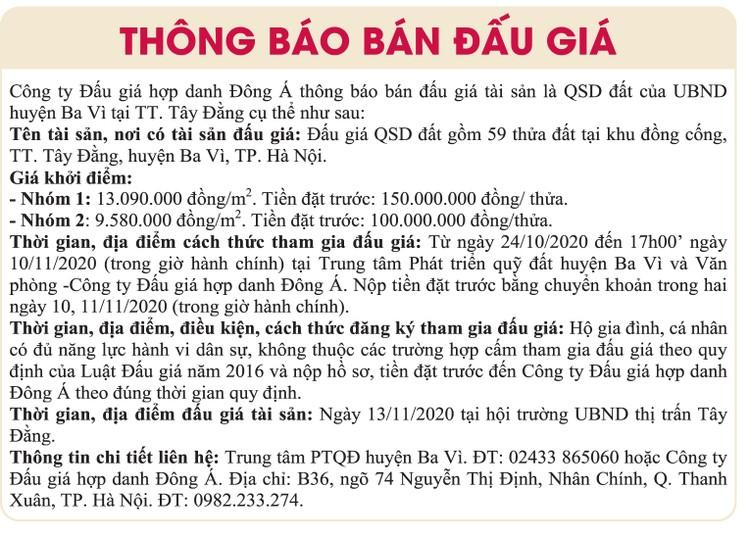 Ngày 13/11/2020, đấu giá quyền sử dụng đất tại huyện Ba Vì, Hà Nội ảnh 1