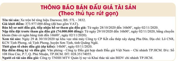 Ngày 3/11/2020, đấu giá xe trộn bê tông hiệu Deawoo tại TPHCM ảnh 1