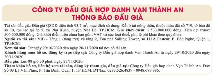 Ngày 23/11/2020, đấu giá quyền sử dụng đất tại huyện Nhà Bè, TPHCM ảnh 1