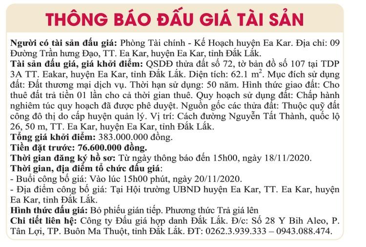 Ngày 20/11/2020, đấu giá quyền sử dụng đất tại huyện Ea Kar, tỉnh Đắk Lắk ảnh 1