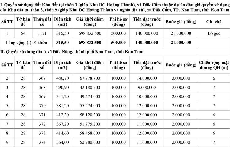 Ngày 23/11/2020, đấu giá quyền sử dụng đất tại thành phố Kon Tum, tỉnh Kon Tum ảnh 1