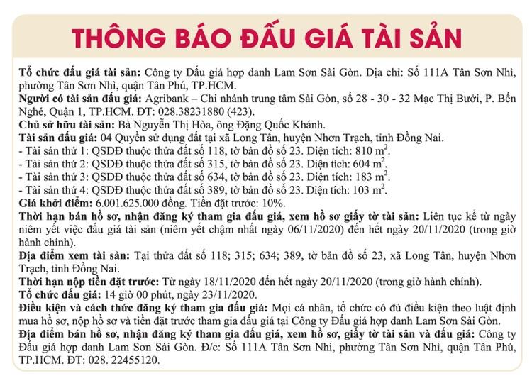 Ngày 23/11/2020, đấu giá quyền sử dụng đất tại huyện Nhơn Trạch, tỉnh Đồng Nai ảnh 1