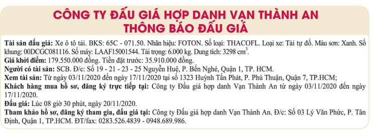 Ngày 20/11/2020, đấu giá xe ô tô tải FOTON tại TPHCM ảnh 1