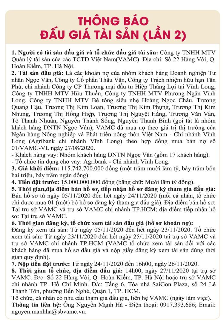 Ngày 27/11/2020, đấu giá các khoản nợ của nhóm khách hàng DNTN Ngọc Vân tại Agribank Chi nhánh Vĩnh Long ảnh 1