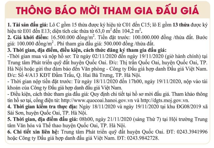 Ngày 21/11/2020, đấu giá quyền sử dụng đất tại huyện Quốc Oai, Hà Nội ảnh 1