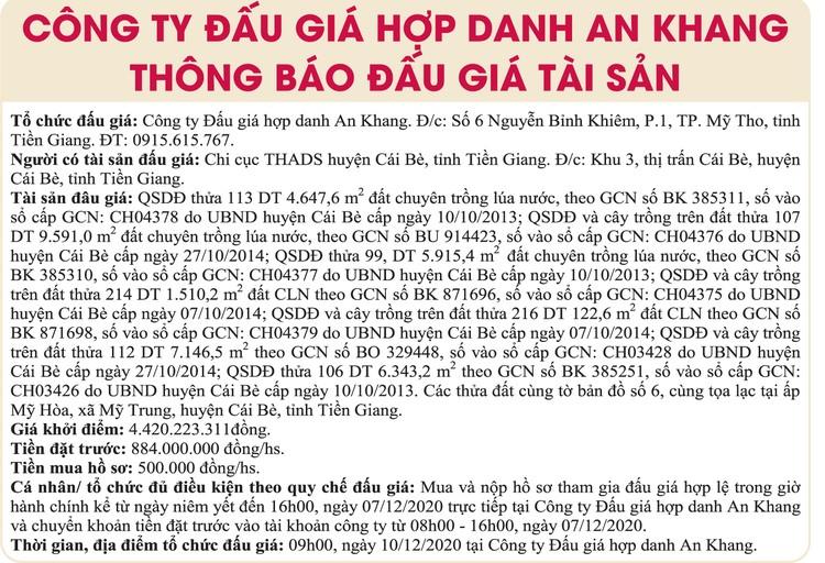 Ngày 10/12/2020, đấu giá quyền sử dụng đất tại huyện Cái Bè, tỉnh Tiền Giang ảnh 1