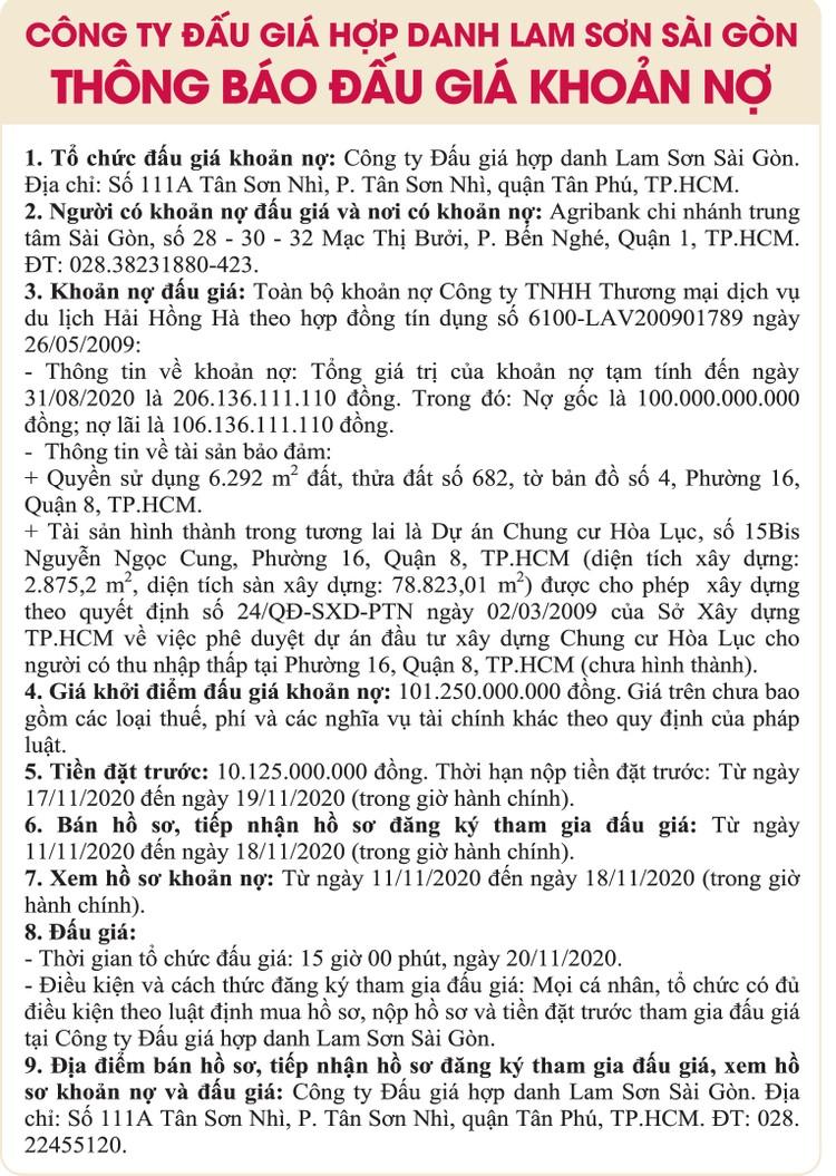 Ngày 20/11/2020, đấu giá toàn bộ khoản nợ của Công ty TNHH Thương mại dịch vụ du lịch Hải Hồng Hà ảnh 1
