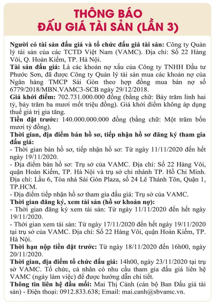 Ngày 23/11/2020, đấu giá các khoản nợ xấu của Công ty TNHH Đầu tư Phước Sơn ảnh 1