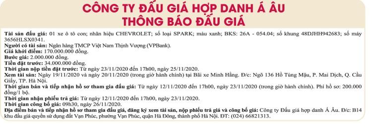 Ngày 26/11/2020, đấu giá xe ô tô Chevrolet tại Hà Nội ảnh 1