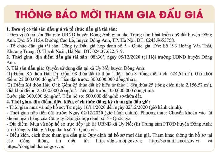 Ngày 5/12/2020, đấu giá quyền sử dụng đất tại huyện Đông Anh, Hà Nội ảnh 1