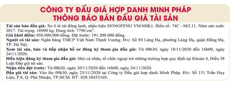 Ngày 25/11/2020, đấu giá xe ô tô tải Dongfeng tại TPHCM ảnh 1