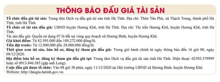 Ngày 11/12/2020, đấu giá quyền sử dụng đất tại huyện Hương Khê, tỉnh Hà Tĩnh ảnh 1
