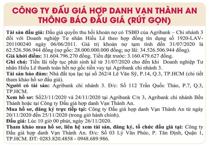 Ngày 26/11/2020, đấu giá quyền thu hồi khoản nợ của Agribank Chi nhánh 3 đối với Doanh nghiệp tư nhân Hiếu Lê ảnh 1