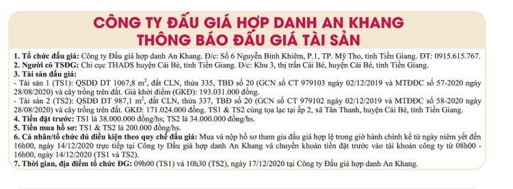 Ngày 17/12/2020, đấu giá quyền sử dụng đất tại huyện Cái Bè, tỉnh Tiền Giang ảnh 1