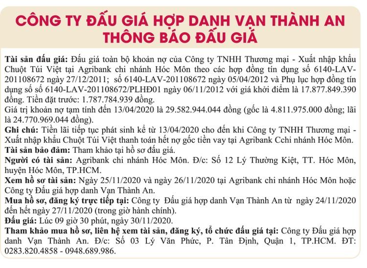 Ngày 30/11/2020, đấu giá toàn bộ khoản nợ của Công ty TNHH Thương mại – XNK Chuột Túi Việt tại Agribank Chi nhánh Hóc Môn ảnh 1