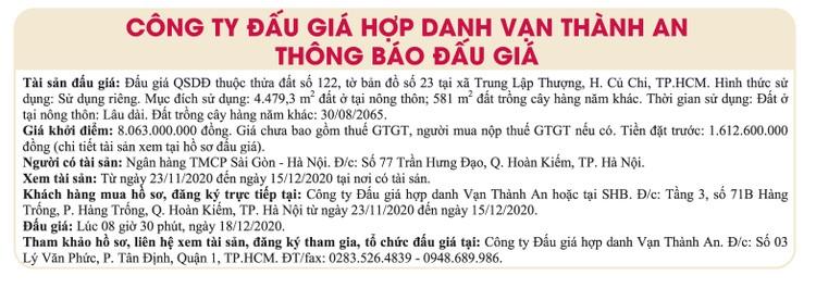 Ngày 18/12/2020, đấu giá quyền sử dụng đất tại huyện Củ Chi, TPHCM ảnh 1