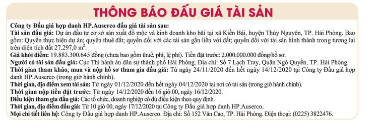 Ngày 17/12/2020, đấu giá quyền sử dụng đất thuê và toàn bộ dự án đầu tư cơ sở SX đồ mộc tại huyện Thủy Nguyên, TP.Hải Phòng ảnh 1