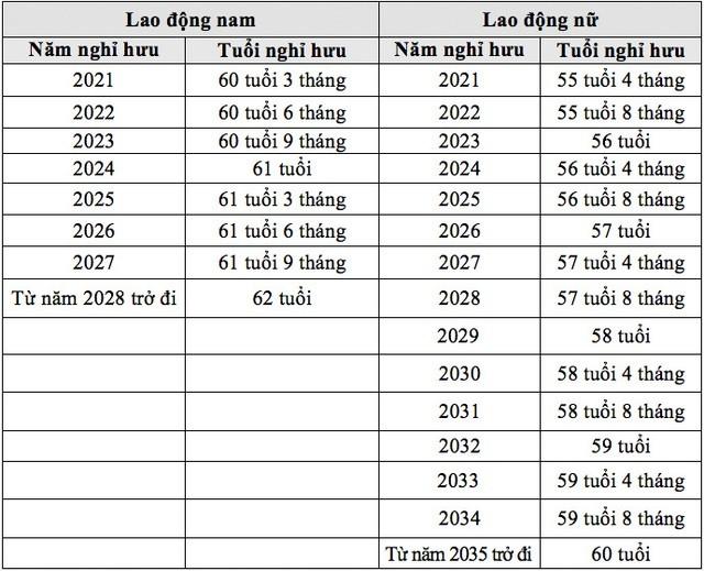 Chính thức ban hành hướng dẫn tuổi nghỉ hưu từ ngày 1/1/2021 ảnh 1