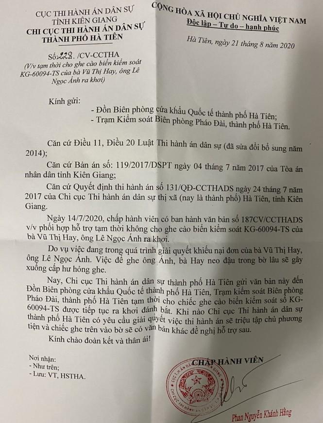 Chi cục THADS TP. Hà Tiên bị 'tố' không giao tài sản cho người trúng đấu giá ảnh 1
