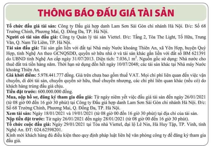 Ngày 29/1/2021, đấu giá quyền sử dụng đất và tài sản gắn liền với đất tại nhà máy nước khoáng Thiên An, tỉnh Nghệ An ảnh 1