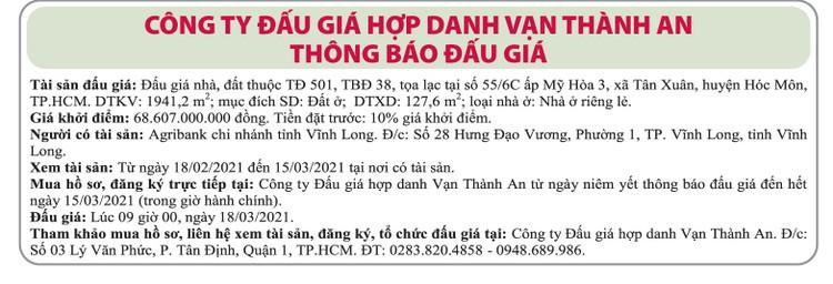 Ngày 18/3/2021, đấu giá quyền sử dụng đất tại huyện Hóc Môn, TP.HCM ảnh 1
