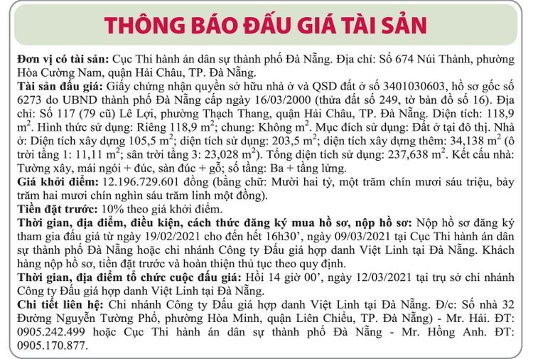 Ngày 12/3/2021, đấu giá quyền sử dụng đất tại quận Hải Châu, thành phố Đà Nẵng ảnh 1