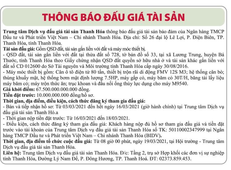 Ngày 19/3/2021, đấu giá quyền sử dụng đất tại huyện Bá Thước, tỉnh Thanh Hóa ảnh 1