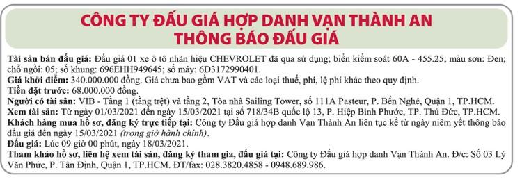 Ngày 18/3/2021, đấu giá xe ô tô Chevrolet tại TPHCM ảnh 1