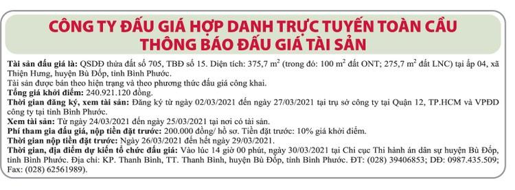 Ngày 30/3/2021, đấu giá quyền sử dụng đất tại huyện Bù Đốp, tỉnh Bình Phước ảnh 1
