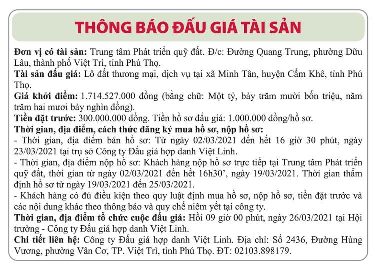 Ngày 26/3/2021, đấu giá quyền sử dụng đất tại huyện Cẩm Khê, tỉnh Phú Thọ ảnh 1