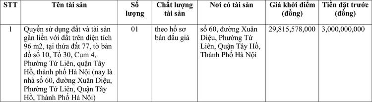 Ngày 22/3/2021, đấu giá quyền sử dụng đất tại quận Tây Hồ, TP Hà Nội ảnh 1