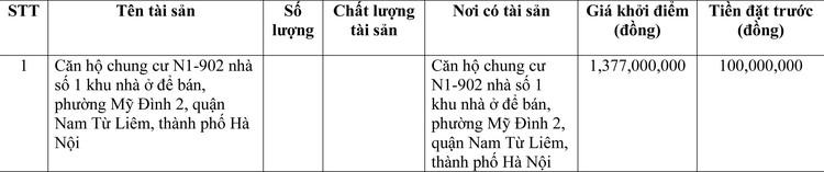 Ngày 18/3/2021, đấu giá Căn hộ chung cư tại quận Nam Từ Liêm, thành phố Hà Nội ảnh 1