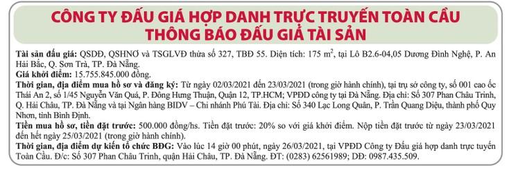 Ngày 26/3/2021, đấu giá quyền sử dụng đất tại quận Sơn Trà, thành phố Đà Nẵng ảnh 1