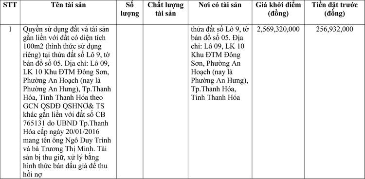 Ngày 8/3/2021, đấu giá quyền sử dụng đất tại TP.Thanh Hóa, tỉnh Thanh Hóa ảnh 1