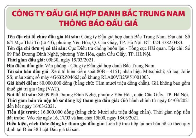Ngày 19/3/2021, đấu giá xe ô tô Mitsubishi tại Hà Nội ảnh 1