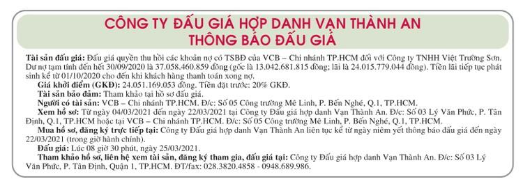 Ngày 25/3/2021, đấu giá quyền thu hồi các khoản nợ của VCB Chi nhánh TPHCM đối với Công ty TNHH Việt Trường Sơn ảnh 1