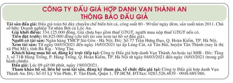 Ngày 19/3/2021, đấu giá dây chuyền sx bột cá tại tỉnh Bà Rịa Vũng Tàu ảnh 1