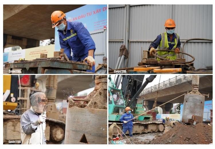 Đại công trường xây dựng cầu Vĩnh Tuy 2 vượt sông Hồng hơn 2.500 tỷ ở Hà Nội ảnh 6