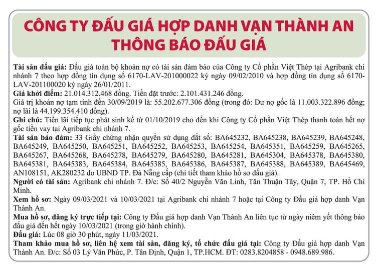 Ngày 11/3/2021, đấu giá toàn bộ khoản nợ của Công ty CP Việt Thép tại Agribank Chi nhánh 7 tại TPHCM ảnh 1