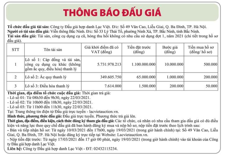 Ngày 26/3/2021, đấu giá tài sản, công cụ dụng cụ tại tỉnh Bắc Ninh ảnh 1