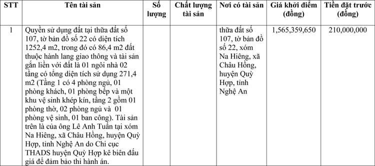 Ngày 2/4/2021, đấu giá quyền sử dụng đất tại huyện Quỳ Hợp, tỉnh Nghệ An ảnh 1