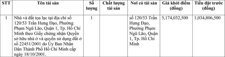 Ngày 1/4/2021, đấu giá quyền sử dụng đất tại Quận 1, Tp. Hồ Chí Minh ảnh 1
