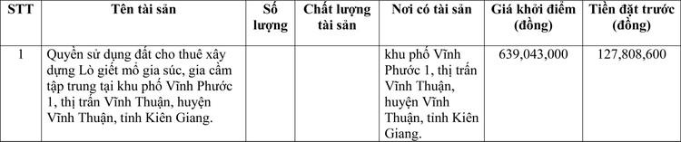 Ngày 31/3/2021, đấu giá quyền sử dụng đất tại huyện Vĩnh Thuận, tỉnh Kiên Giang ảnh 1