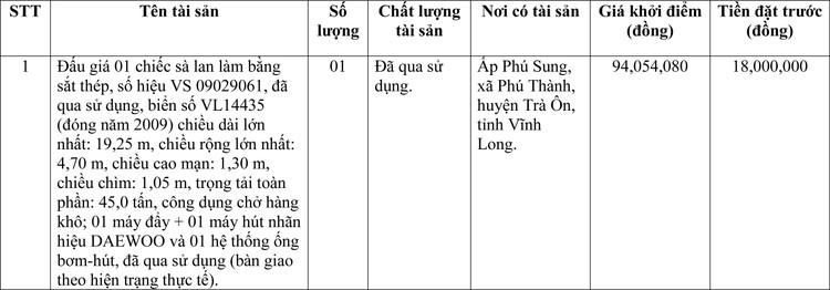 Ngày 25/3/2021, đấu giá 01 chiếc sà lan làm bằng sắt thép tại tỉnh Vĩnh Long ảnh 1
