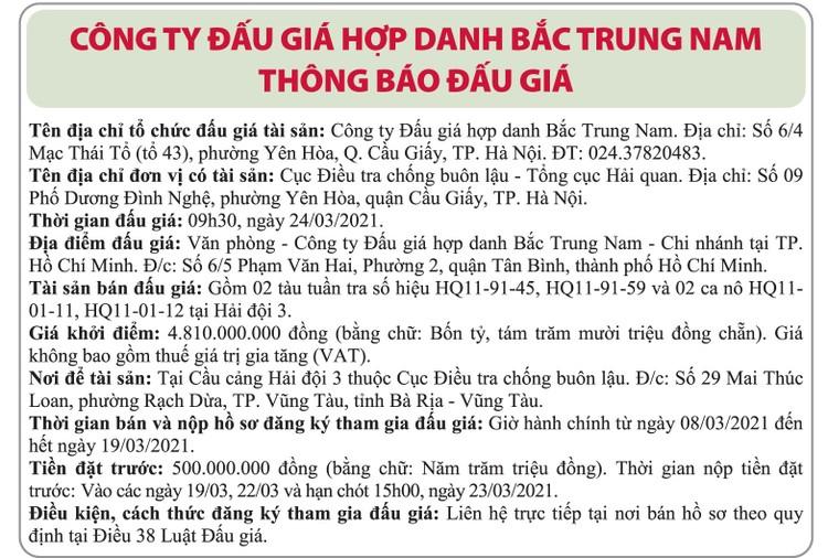 Ngày 24/3/2021, đấu giá 2 tàu tuần tra tại Hà Nội ảnh 1
