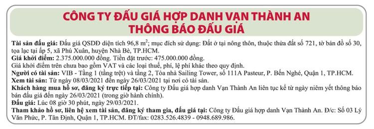 Ngày 29/3/2021, đấu giá quyền sử dụng đất tại huyện Nhà Bè, TPHCM ảnh 1