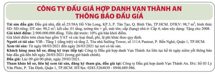 Ngày 29/3/2021, đấu giá quyền sử dụng đất tại quận Bình Tân, TPHCM ảnh 1
