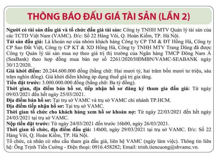 Ngày 29/3/2021, đấu giá các khoản nợ của Công ty CP TM&ĐT Hồng Hà, Sao Đất Việt, CP KT&XD Hồng Hà, TNHH MTV Trang Dũng vay tại Seabank ảnh 1
